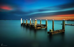 IN A WRECK (Vaughan Laws Photography | www.lawsphotography.com) Tags: ocean old longexposure sunset sky seascape color skyline landscape pier colorful le wreck ndfilter neutraldensityfilter longexposuresunset longexposurecolour nd10stop lawsphotography vaughanlaws