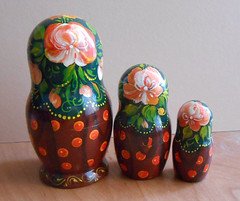 Nesting dolls (matryoshka) in Russian style Volhkvoskaya with sunflowers handmade. (Artworkshop1) Tags: handmade babushka matryoshka khokhloma