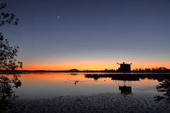 Judge's Box, Moon and Venus (blachswan) Tags: water reflections dawn australia victoria ballarat lakewendouree judgesbox mountwarrenheip