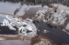 Ice behind the suspension bridge (BlizzardFoto) Tags: ice water kayak flood suspensionbridge aerialphotography vesi j icejam soomaa aerofoto leujutus karuskose soomaanationalpark soomaarahvuspark viiesaastaaeg raudnajgi rippsild jminek riverraudna