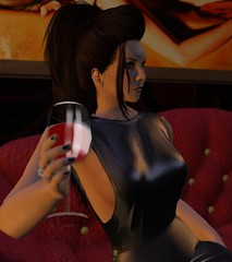 Black Fingernails, Red Wine (alexandriabrangwin) Tags: world red black art glass leather computer pose hair evening 3d graphics shiny erotic sitting dress wine metallic lounge glossy secondlife virtual fingernails backdrop parlor domme contemplating cgi dominatrix updo eskimojoe lesalon alexandriabrangwin