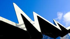 Waveform (alasdairwclark) Tags: sky architecture scotland geometry glasgow angles velvia fujifilm angular glasgowtransportmuseum velviafilmsimulation fujifilmx100s