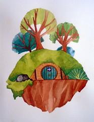 Dreamy landscape, by Julia - DSC02425 (Dona Mincia) Tags: house tree art watercolor painting landscape casa arte dream paisagem imaginary rvore sonho pintura aquarela imaginria