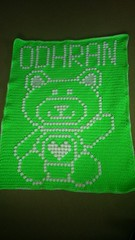 Teddy bear blanket for Odhran (dochol) Tags: bear chart cute wool hearts teddy handmade name crochet craft graph yarn homemade teddybear blanket afghan alphabet manta babyblanket personalised croche babyname crochethooks haakenwert