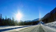 Sundog and Ice Crystals - Alaska (JLS Photography - Alaska) Tags: road morning blue sky sun mountain snow mountains alaska skyline forest sunrise landscape landscapes morninglight scenery outdoor sundog lastfrontier alaskalandscape jlsphotographyalaska