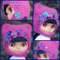 The Folklore Kitty Helmet: Dark Eyes (Euro_Trash) Tags: flowers net wool felted metallic buttons helmet knit kitty website com seafood embroidered embellished eurotrash hotpink brightpink royalblue neoblythe folkloreribbon