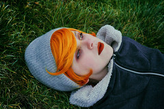 Infinite (Nanihta (Sol Vzquez)) Tags: autumn portrait woman selfportrait cold nature girl beauty grass female self canon photography 50mm intense eyes colorful chica retrato femme redhead portraiture redlips redhair emotions infinito ritratto orangehair infinite sleepingbeauty lookatthesky selfie streetstyle alternativegirl