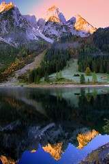 Morning Make Up of Mountains (mark.paradox) Tags: morning mountain lake alps reflection nature water colors beauty berg sunrise landscape austria see sterreich scenery view dachstein landschaft blick obersterreich         northernlimestonealps