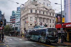Manners Street (andrewsurgenor) Tags: city newzealand urban bus buses yellow electric busse transport transit nz wellington publictransport streetscenes omnibus trolleybus obus trolleybuses citytransport trackless nzbus gowellington