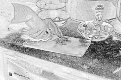 Pencil artist depiction of food prep (Kobie M-C Photography) Tags: stilllife food white ontario canada black art kitchen pentax knife indoor potato homemade garlic culinary k30
