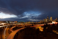 Somethings never get old. (Brendinni) Tags: seattle longexposure weather clouds photography traffic stormy pnw cloudporn interstate5 seattlewa interstate90 cartrails skyviewobservatory