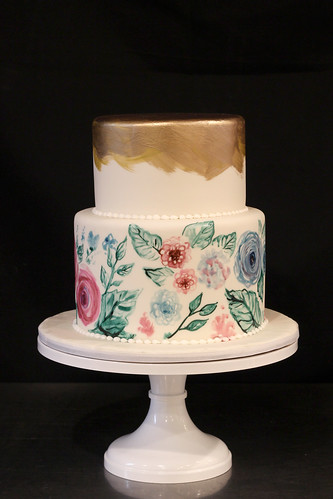Hand Painted Florals with Metallic Gold Top Wedding Cake