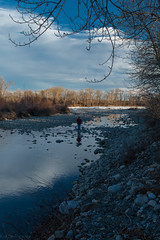 The Master at Work. Again. (Patstirling) Tags: trees sky canada reflection calgary water stone clouds river landscape flow weeds rocks outdoor smooth shoreline rocky shore alberta lee bow riverbed serene riverbank polarized channel bowriver silky freestone leefilter