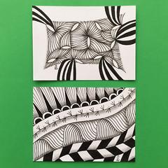Yuma and mixed ATC (ilienne) Tags: blackandwhite art zentangle wwwzentanglezooblogspotnl