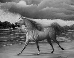 Moonmare (Artist Victoria Watson) Tags: sea horses blackandwhite horse art monochrome animal painting seaside mare waves outdoor arabian oils oilpainting blankandwhite animalart equines runninghorse thegalaxy horseart sweetfreedom equineart oilsoncanvas handrendered dappledgray handrenderedart
