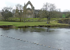 Stepping stones to Bolton Priory (Majorshots) Tags: yorkshire steppingstones boltonabbey riverwharfe boltonpriory ldwa thedalesway daleswayfootpath