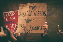 obama mess (simple pleasure) Tags: sign hands downtown phone cleanup cardboard liarliar trumprally