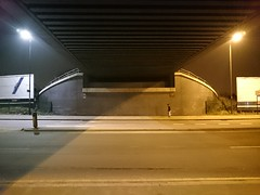 Brighter on the other side (Stephen Cannon) Tags: road bridge white colour yellow night border led lamps sodium ealing harrow northoltpark