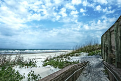 More from Fence Friday and Earth Day! (Chris C. Crowley) Tags: ocean sea seascape beach clouds landscape coast seaside sand waves dunes scenic bluesky coastal walkway vegetation coastline railing seashore seaoats hff happyearthday ponceinletflorida morefromfencefridayandearthday