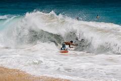 Stoked at Sandy's (scojones) Tags: ocean beach hawaii whitewater oahu kodakportra160vc sandys foamy bodyboarding boogieboarding shorebreak barrelled canon135l sandybeachpark vsco sonya7 vscofilm