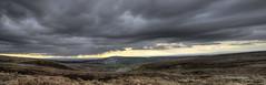 A Passing Shower. (sidibousaid60) Tags: sky autostitch panorama sun mountain rain clouds landscape cheshire peakdistrict fields moorland macclesfield catfiddle cheshireplain