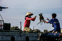 Floating Market (thierryhaphotosvoyages) Tags: voyage trip travel fruit boat asia market south floating delta can east vietnam fruta chapeau asie ananas march mekong sud est barque batau tho phong pia fruto sudeste dien flottant pineappple