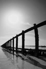 Beach defence (d0u81a5) Tags: wood sea bw beach monochrome coast damage groyne defence perpective