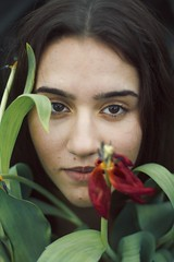 Kasia (sgladiate) Tags: flowers portrait flower cute nature girl beautiful beauty fashion canon 50mm spring model photoshoot tulips simple