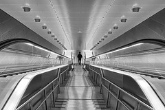 The descent (Birdhouse camper) Tags: street light lines silhouette stairs copenhagen denmark escalator iphone6s