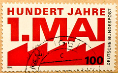 stamp Germany 100Pf. May 1st - Labour Day (International Workers' Day, Tag der Arbeit, Le Premier mai, munka nnepe,  Primero de Mayo, Festa del lavoro, ,    , Dia do Trabalhador,  ) timbres Allemagne     sello (thx for sending stamps :) stampolina) Tags: red rot postes rouge politik stamps politics may mai alemania tyskland rosso postzegel labourday alemanha laborunion politic duitsland policy selo 1mai bolli feiertag holyday sello sellos briefmarken frimrken briefmarke   francobollo selos gewerkschaft almanya njemaka  francobolli bollo postzegels zegels zegel znaczki labourunion markica  frimerker     pullari  blyegek  raztka
