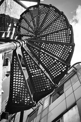 Spiral stairs (35mmMan) Tags: cameraphone city urban london monochrome architecture blackwhite iron pattern spirals details staircase fireescape iphone wrought iphone6