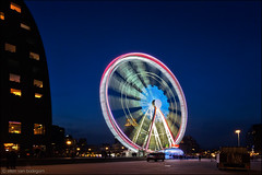 rotterdam (heavenuphere) Tags: street city longexposure blue people netherlands night outdoors lights evening hall twilight rotterdam europe nightshot market centre nederland hour ferriswheel theview reuzenrad zuidholland 4sec 1635mm southholland markthal binnenrotte
