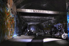 FREE (drain) PARKING (JAZ-art) Tags: urban storm water underground grafitti ride evil tunnel betty harley drain chamber motorcycle davidson drains urbex vrod