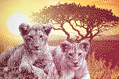 Commissioned work (.krayon) Tags: artwork gallery handmade canvas pixel pixelart lions myart serengeti savana krayon customcanvas