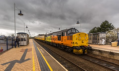 Colas Railfreight Class 37/0 no 37175 leads the Derby to Derby (Via Thoresby) test train at Mansfield Station on 25-04-2016 (kevaruka) Tags: railroad england test orange color colour colors yellow train canon eos spring high mine flickr track colours britain outdoor united great transport rail railway kingdom trains front pit mining page april vehicle 5d locomotive dull freight nottinghamshire colliery 1635 thoresby edwinstowe mk3 clipstone 2016 colas ef100400 37175 37424 f4556l marnham cpal 5d3 5diii ilobsterit