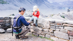 Affection  (KL.Lau  ) Tags: newzealand portrait people baby man male men smile smiling loving work happy person warm looking adult affection hiking sony father working lifestyle nz mtcook a7 caucasian aoraki hookervalleytrack glacierlake