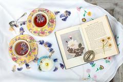 tea tray (photoart33) Tags: flowers stilllife vintage book petals pretty ranunculus teacups pressedflowers