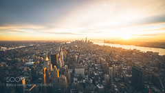 New York City Sunset Skyline (Justin S Reid) Tags: new york city nyc travel sunset sky urban usa sun color building apple skyline architecture clouds skyscraper river bay big cityscape manhattan wide 500px ifttt dierjscreensaver