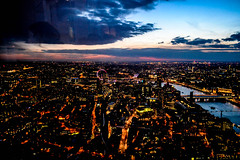 AT NIGHT (ZAC DES) Tags: street blue roof light sunset summer panorama reflection london eye cars rooftop up thames skyline night clouds contrast photoshop canon river garden dark point lights high nikon tourist seeing views tall sight higher shard viewing illuminate vanish hights 2016 higest