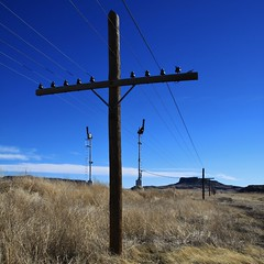 Solace (Lights in my hometown) Tags: railroad newmexico santafe code line pole signals blades semaphore wagonmound