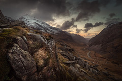 Journey (jellyfire) Tags: road winter light sky cloud brown snow mountains wet rock wales zeiss canon landscape snowdon slate snowdonia quarry ze capelcurig landscapephotography pygtrack dinorwig canon5dmkii distagont3518 zeissdistagont18mmf35ze leeacaster