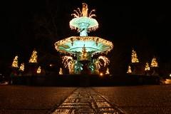 Broadway Fountain (Jane Inman Stormer) Tags: trees holiday green wet fountain bronze lights bricks ground historic patina madisonindiana