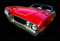 olds 442 (madmtbmax) Tags: auto red usa vintage us muscle convertible headlights retro bumper chrome american oldsmobile 442