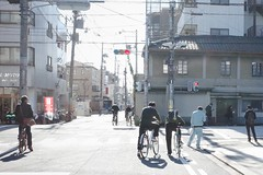 Walking In Tokyo (Gai) Tags: street blue school autumn boy red sky man male leaves bike japan maple student kyoto cross sidewalk    middle