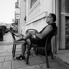 Laid back (JarHTC) Tags: street bw monochrome square outdoor wide fujifilm laidback xe2 samyang12mm