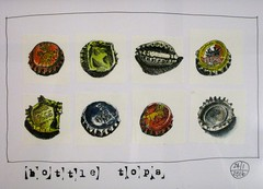 8 bottle tops (Evelyn Bach) Tags: sketch drawing rubbish bottletops penandwatercolour