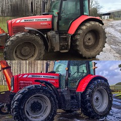 Washing the 6480 (nreaney) Tags: winter tractor farm farming dirty cleaning wash mf agriculture massey masseyferguson 6480 massey6480