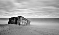 Renovation? (Nathan J Hammonds) Tags: sea bw cloud beach blackwhite movement nikon long exposure norfolk smooth nd renovation monchrome 2485mm 10stop