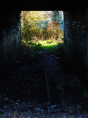 Tunnel Vision (Alan FEO2) Tags: light shadow abandoned fence dark outdoor tunnel frame rubbish 93 footpath rubble seenbetterdays 2oef 116picturesin2016