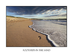 Footsteps in the sand (sugarbellaleah) Tags: ocean morning sky beach water beautiful clouds walking landscape seaside sand scenery pretty surf alone exercise walk sandy scenic wave australia soul footsteps lonely grains spirituality fitness seashore imprint wellbeing wandabeach